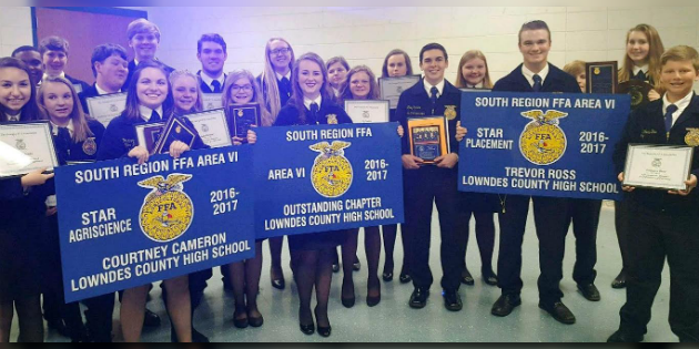 Lowndes High School FFA Chapter was recognized at the Area 6 FFA Awards Banquet